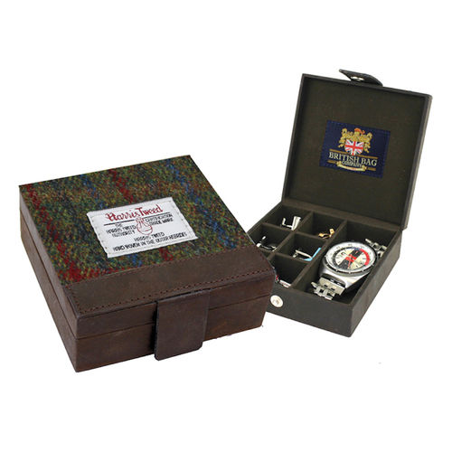 Harris Tweed Green and Red Tartan and Leather Trinket Box For Cufflinks etc