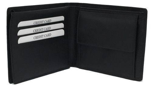 Gents Black Leather Bifold Wallet Boxed