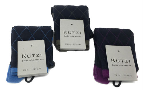 Kutzi Mens Calf Length Socks Navy With Diamond Design