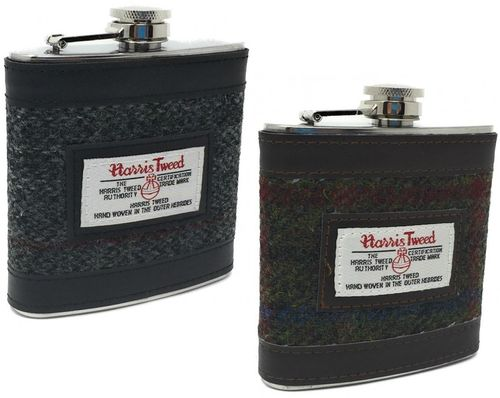 Harris Tweed 6oz Stainless Steel Hip Flask in Gift Package