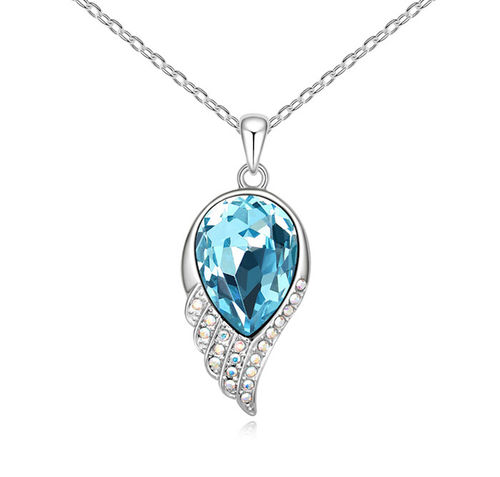 Betsy Morgan Blue Austrian Crystal White Gold Plated Necklace with Swarovski Elements