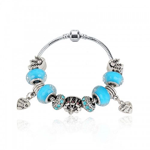 Betsy Morgan Blue Charm Bracelet with Crystals and Glass Beads A Girls Delight