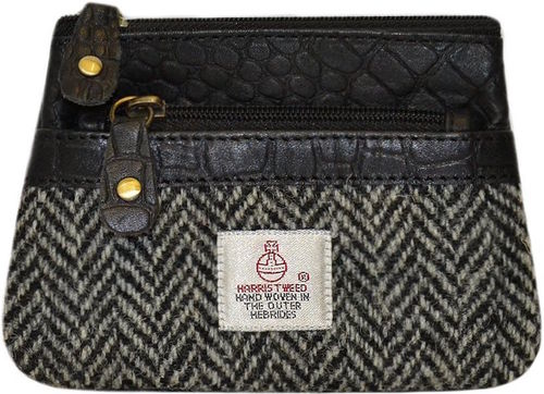 Harris Tweed Black Herringbone 3 Zip Coin Purse