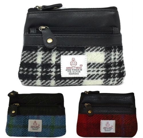 Harris Tweed and Leather 3 Zip Coin Purse - Various Designs