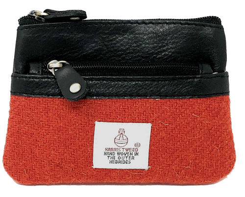 Harris Tweed Red 3 Zip Coin Purse