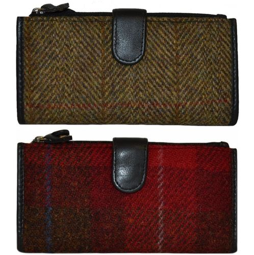 Ladies Harris Tweed and Leather Long Purse Traditional Colours