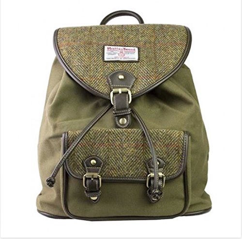 Genuine Harris Tweed & Green Canvas Rucksack / Backpack