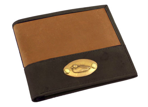 Leather Brown and Tan Leather Duck Plate Bifold Wallet