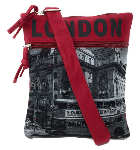 Robin Ruth London Bus Red and Grey Small Passport Bag