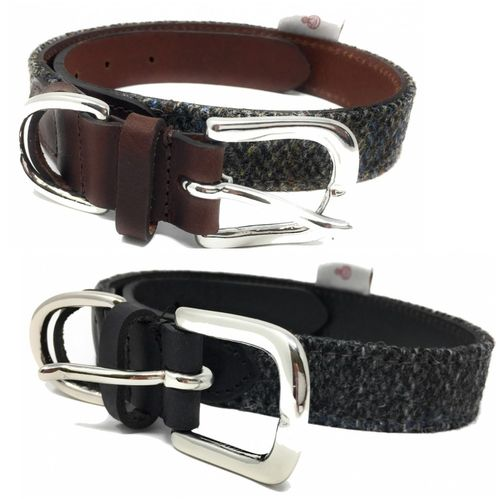 Harris Tweed and Leather Dog Collar 25mm Width