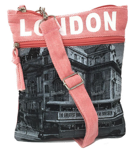 Robin Ruth London Bus Pink and Grey Small Passport Bag
