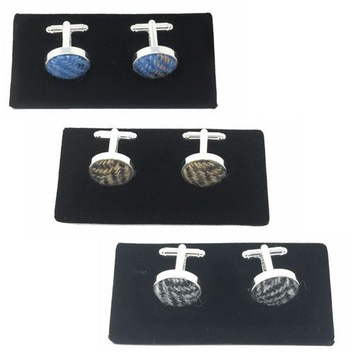 Silver Plated Cufflinks with Harris Tweed