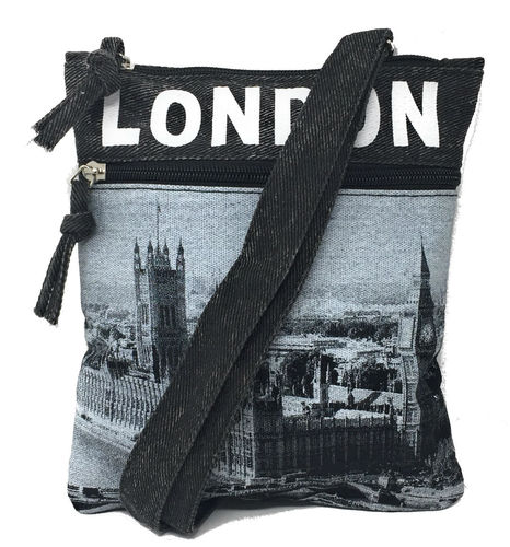 Robin Ruth London Black and Grey Small Passport Bag