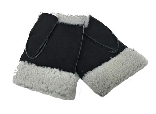 Genuine Lambskin Fingerless Mittens Hand Sewn Black