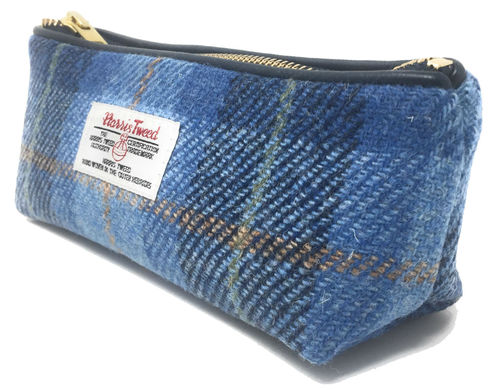 Harris Tweed Blue Tartan Zipped Pencil Case