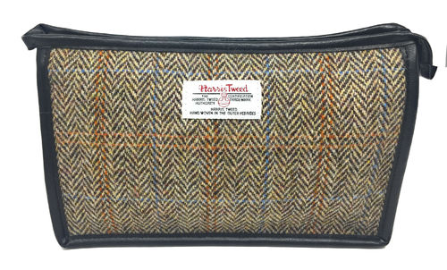 Harris Tweed Light Brown Herringbone Cosmetic Toiletries Bag