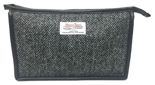 Harris Tweed Black Herringbone Cosmetic Toiletries Bag