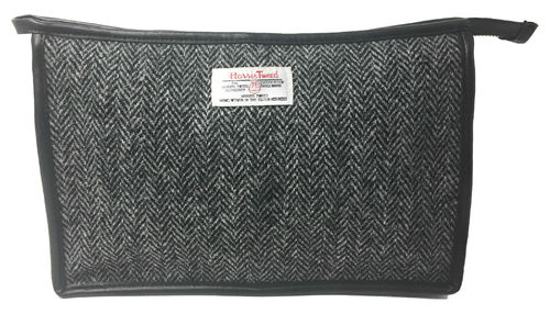 Harris Tweed Black Herringbone Toiletries Wash Bag