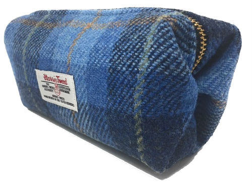 Harris Tweed Blue Tartan Box Cosmetic Toiletries Bag