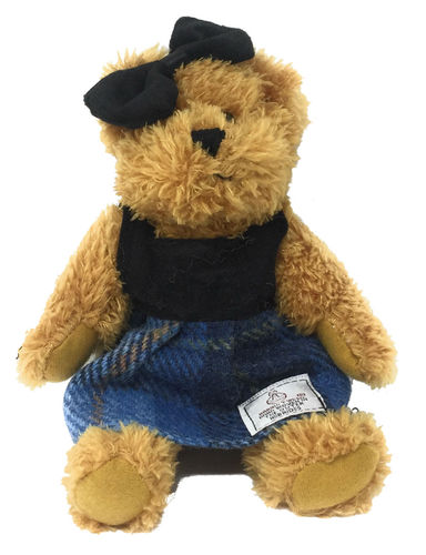Harris Tweed Blue Tartan Dressed Scruffy Girl Bear