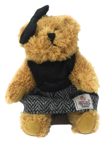 Harris Tweed Black Herringbone Dressed Scruffy Girl Bear