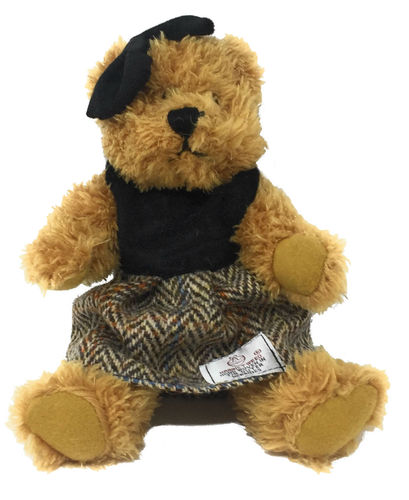 Harris Tweed Brown Herringbone Dressed Scruffy Girl Bear