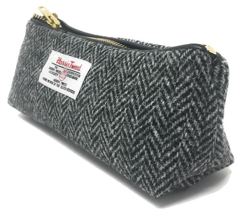 Harris Tweed Black Herringbone Zipped Makeup Bag