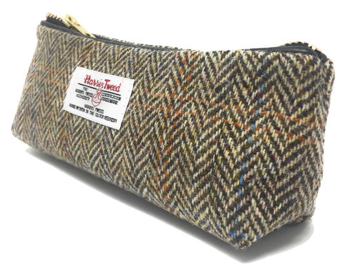 Harris Tweed Light Brown Herringbone Zipped Makeup Bag