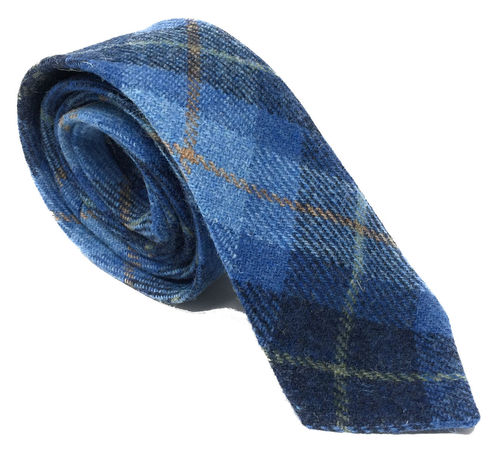 Quality Harris Tweed Blue Tartan Tie