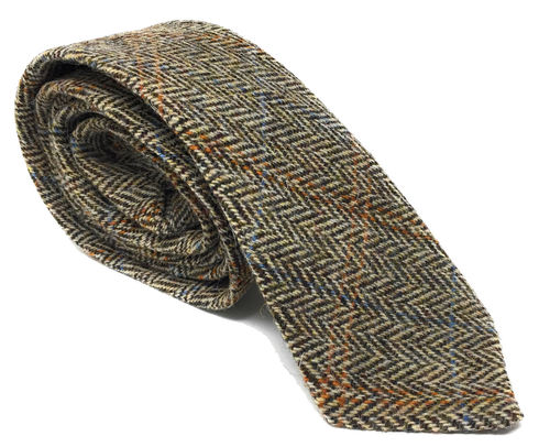Quality Harris Tweed Brown Herringbone Tie