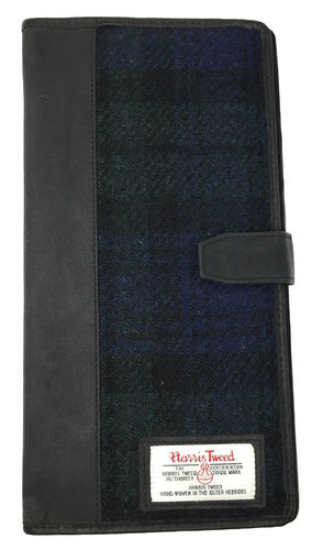 Black Harris Tweed and Leather Travel Document and Card Holder