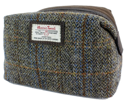 Brown Harris Tweed with Leather Trim Zipped Cosmetic Bag
