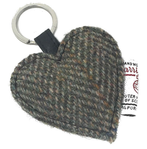 Harris Tweed Heart Key Ring in Green