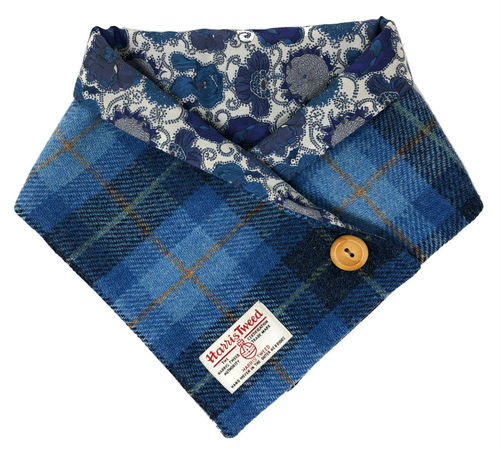 Harris Tweed Blue Tartan Liberty Lined Cowl Neck Warmer