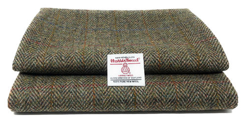 Harris Tweed Green Herringbone Fabric and Authenticity Labels