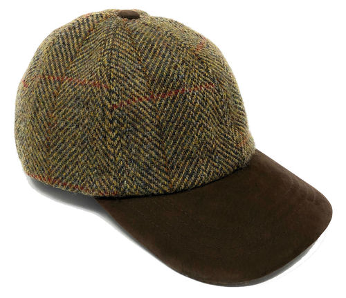 Harris Tweed Golf / Baseball Cap in Olive Green
