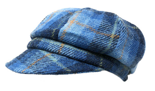 Ladies Harris Tweed Baker Boy Hat in Blue Tartan