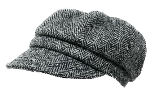 Ladies Harris Tweed Baker Boy Hat in Black Herringbone