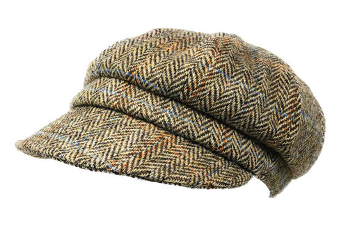 Ladies Harris Tweed Baker Boy Hat in Brown Herringbone