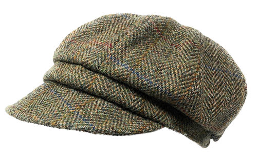 Ladies Harris Tweed Baker Boy Hat in Green Herringbone